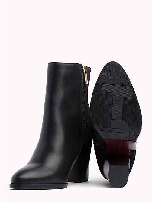 TOMMY HILFIGER Star Embroidery Heeled Ankle Boots - BLACK - TOMMY HILFIGER Shoes - detail image 1