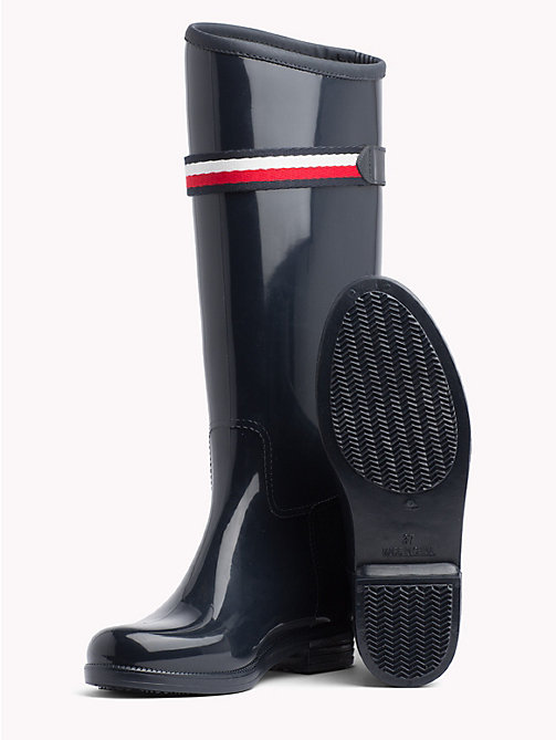 TOMMY HILFIGER Signature Tape Buckle Rain Boots - MIDNIGHT - TOMMY HILFIGER Wellies - detail image 1