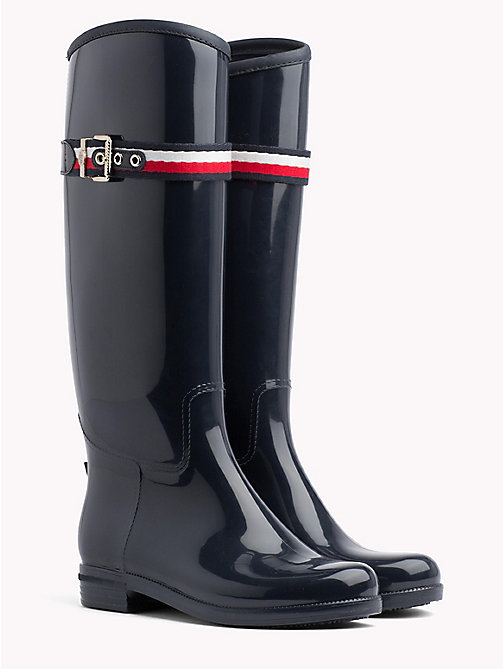 TOMMY HILFIGER Signature Tape Buckle Rain Boots - MIDNIGHT - TOMMY HILFIGER Wellies - main image