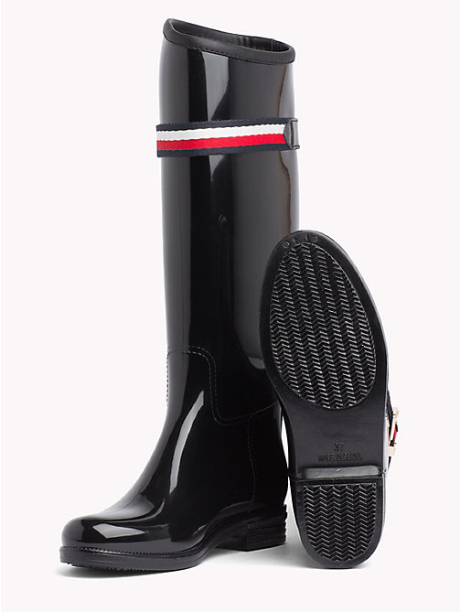 TOMMY HILFIGER Signature Tape Buckle Rain Boots - BLACK - TOMMY HILFIGER Shoes - detail image 1