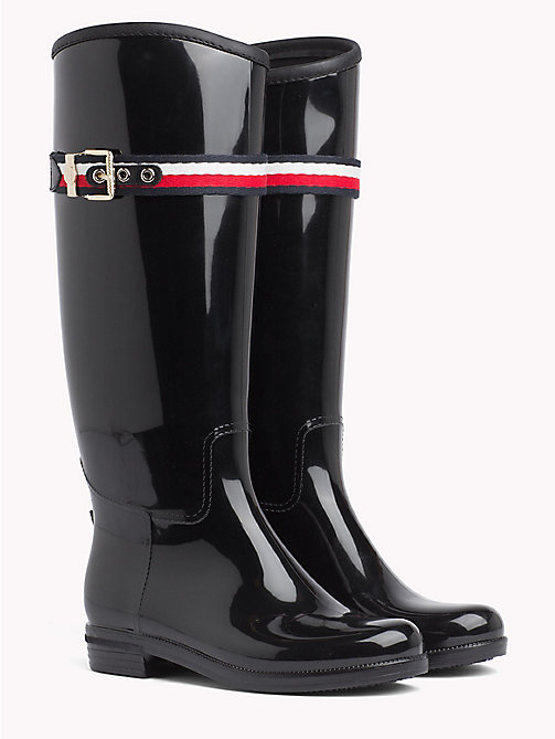 TOMMY HILFIGER Signature Tape Buckle Rain Boots - BLACK - TOMMY HILFIGER Shoes - main image