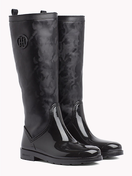 TOMMY HILFIGER Shiny Camouflage Wellington Boots - BLACK - TOMMY HILFIGER NEW IN - main image