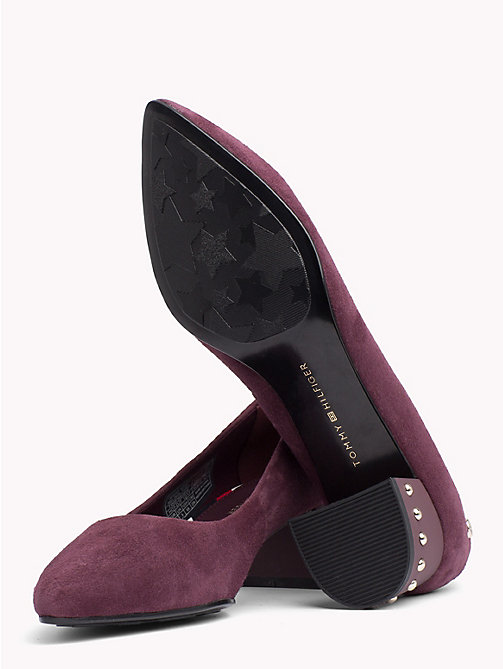 Suede Stud Mid Heel Shoes - DECADENT CHOCOLATE - TOMMY HILFIGER Pumps - detail image 1