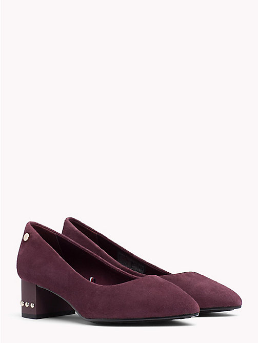 Suede Stud Mid Heel Shoes - DECADENT CHOCOLATE - TOMMY HILFIGER Pumps - main image