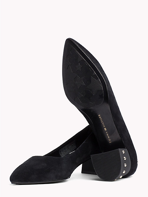 TOMMY HILFIGER Suede Stud Mid Heel Shoes - BLACK - TOMMY HILFIGER The shoe edit - detail image 1