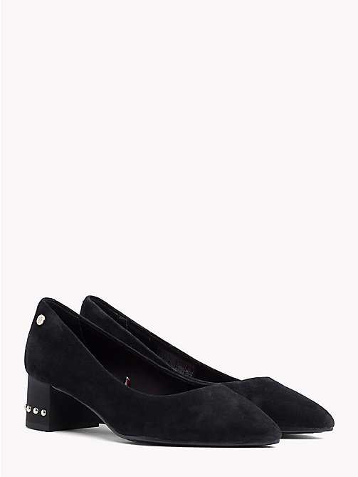 Suede Stud Mid Heel Shoes - BLACK - TOMMY HILFIGER Pumps - main image