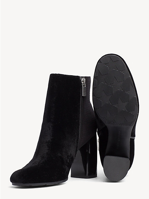 TOMMY HILFIGER Velvet Block Heel Boots - BLACK - TOMMY HILFIGER NEW IN - detail image 1