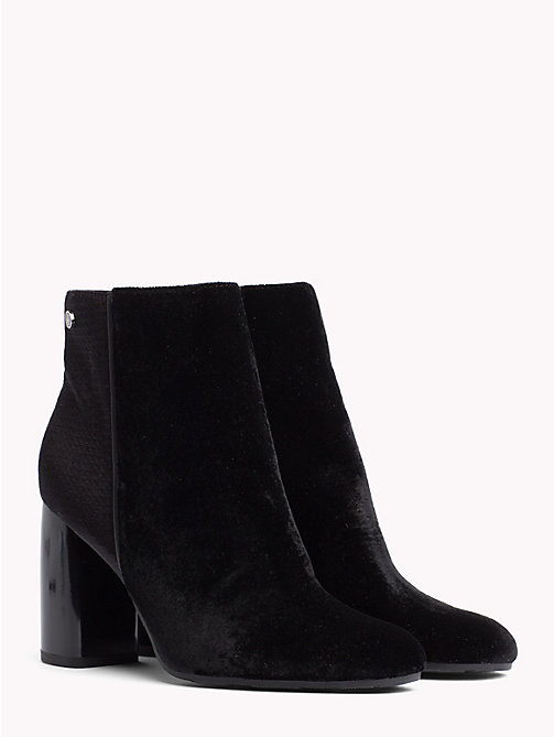 TOMMY HILFIGER Velvet Block Heel Boots - BLACK - TOMMY HILFIGER NEW IN - main image