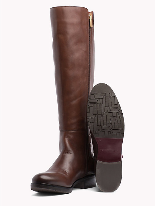 TOMMY HILFIGER Monogram Buckle High Boots - COFFEE - TOMMY HILFIGER Knee-High Boots - detail image 1