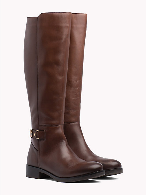 TOMMY HILFIGER Monogram Buckle High Boots - COFFEE - TOMMY HILFIGER Knee-High Boots - main image