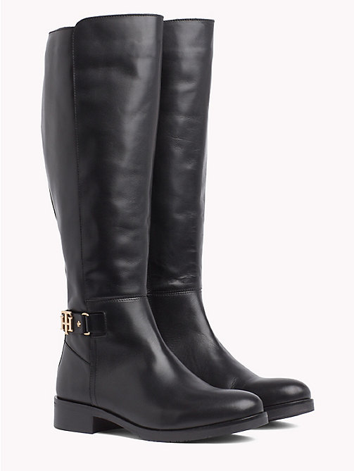 TOMMY HILFIGER Monogram Buckle High Boots - BLACK - TOMMY HILFIGER Knee-High Boots - main image