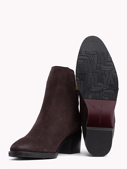 TOMMY HILFIGER Monogram Block-Heel Suede Boots - EBONY - TOMMY HILFIGER Ankle Boots - detail image 1