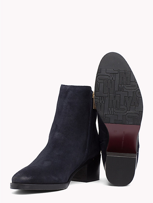 TOMMY HILFIGER Monogram Block-Heel Suede Boots - MIDNIGHT - TOMMY HILFIGER Shoes - detail image 1