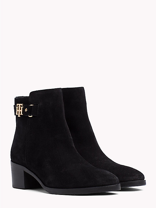 TOMMY HILFIGER Monogram Block-Heel Suede Boots - BLACK -  Ankle Boots - main image