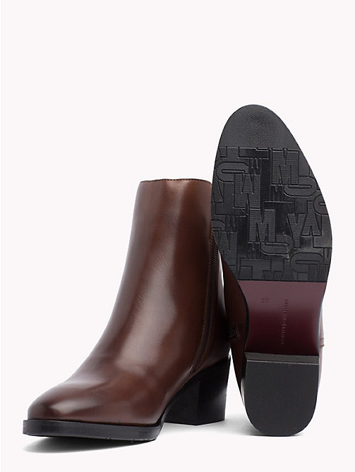 TOMMY HILFIGER Monogram Block-Heel Ankle Boots - COFFEE -  Shoes - detail image 1