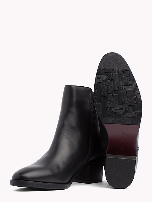 TOMMY HILFIGER Monogram Block-Heel Ankle Boots - BLACK - TOMMY HILFIGER Shoes - detail image 1