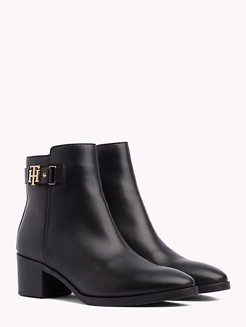 TOMMY HILFIGER Monogram Block-Heel Ankle Boots - BLACK - TOMMY HILFIGER Shoes - main image