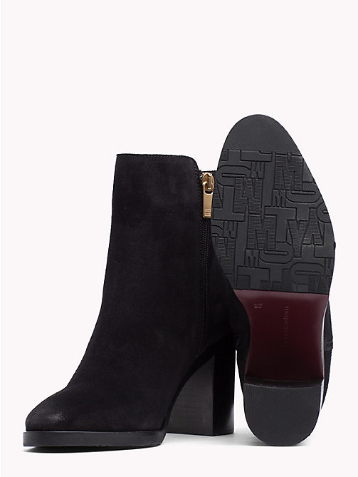 TOMMY HILFIGER Suede Heeled Ankle Boots - BLACK - TOMMY HILFIGER Heeled Boots - detail image 1
