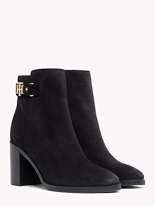 TOMMY HILFIGER Suede Heeled Ankle Boots - BLACK - TOMMY HILFIGER Heeled Boots - main image