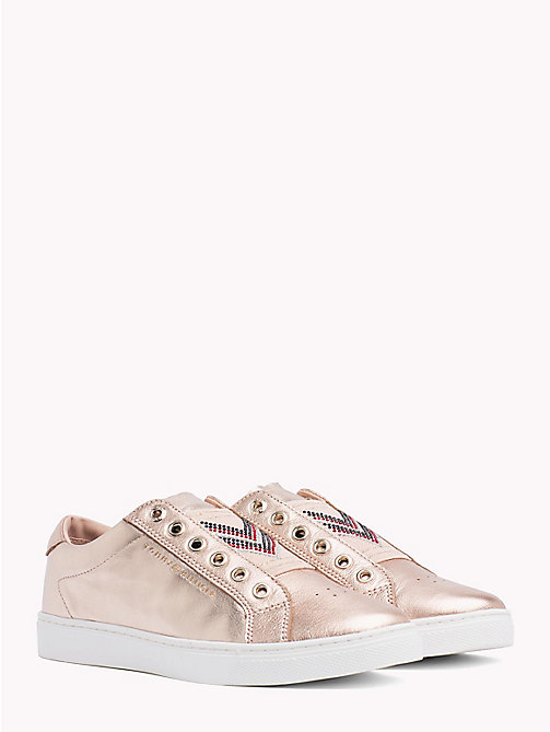 TOMMY HILFIGER Metallic Studded Elastic Trainers - ROSE GOLD - TOMMY HILFIGER Trainers - main image