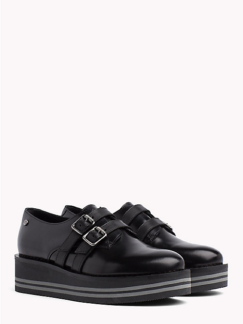 TOMMY HILFIGER Buckle Detail Flatform Shoes - BLACK - TOMMY HILFIGER Shoes - main image