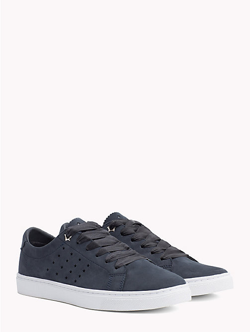 TOMMY HILFIGER Leather Star Perforated Trainers - MIDNIGHT - TOMMY HILFIGER Trainers - main image