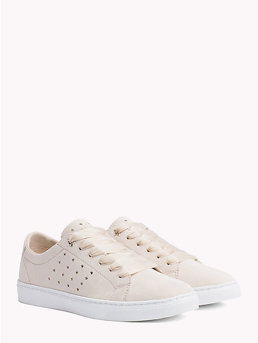 TOMMY HILFIGER Leather Star Perforated Trainers - TAPIOCA - TOMMY HILFIGER Shoes - main image