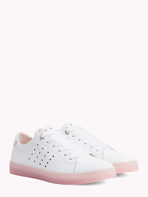 TOMMY HILFIGER Leather Star Perforated Trainers - WHITE - TOMMY HILFIGER VACATION FOR HER - main image