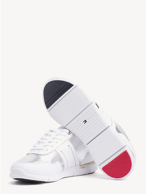 TOMMY HILFIGER Metallic Panel Leather Trainers - WHITE - TOMMY HILFIGER NEW IN - detail image 1