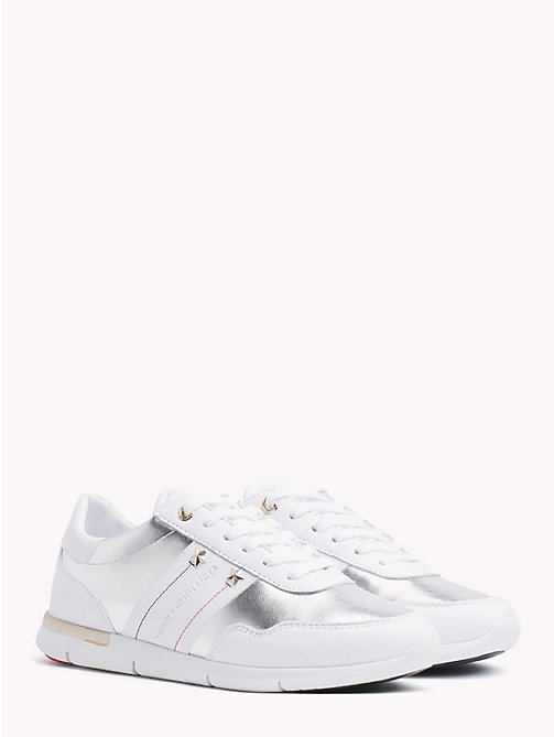 TOMMY HILFIGER Metallic Panel Leather Trainers - WHITE - TOMMY HILFIGER NEW IN - main image