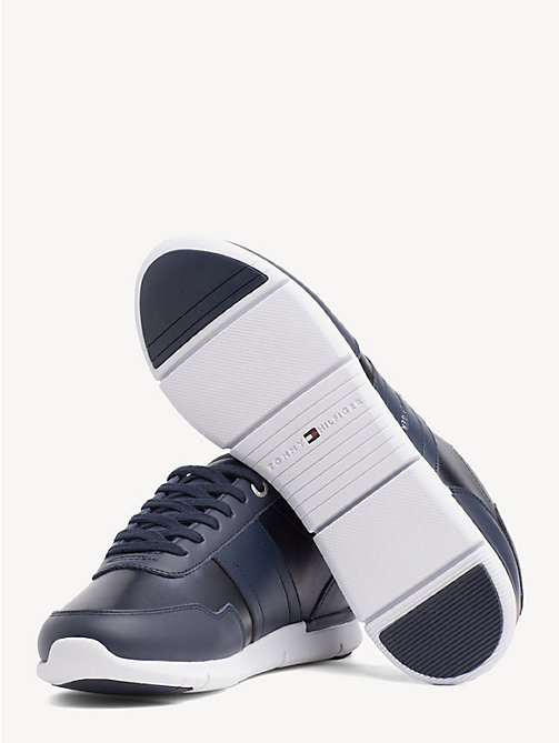TOMMY HILFIGER Metallic Panel Leather Trainers - TOMMY NAVY - TOMMY HILFIGER Trainers - detail image 1