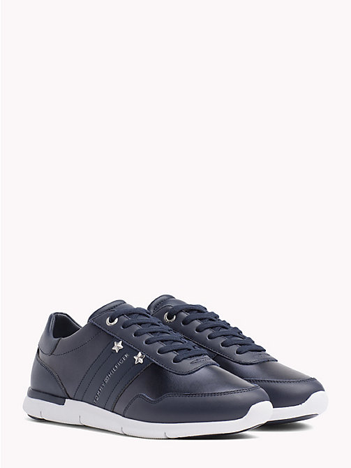 TOMMY HILFIGER Metallic Panel Leather Trainers - TOMMY NAVY - TOMMY HILFIGER Trainers - main image