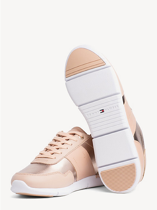 TOMMY HILFIGER Metallic Panel Leather Trainers - PEACH ROSE - TOMMY HILFIGER NEW IN - detail image 1