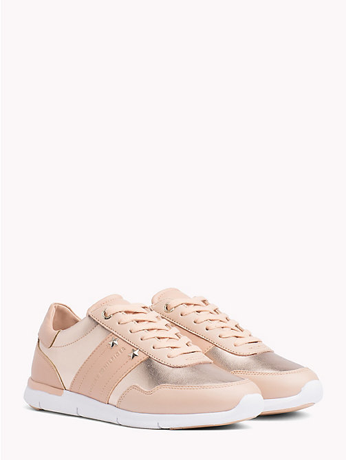 TOMMY HILFIGER Metallic Panel Leather Trainers - PEACH ROSE - TOMMY HILFIGER NEW IN - main image