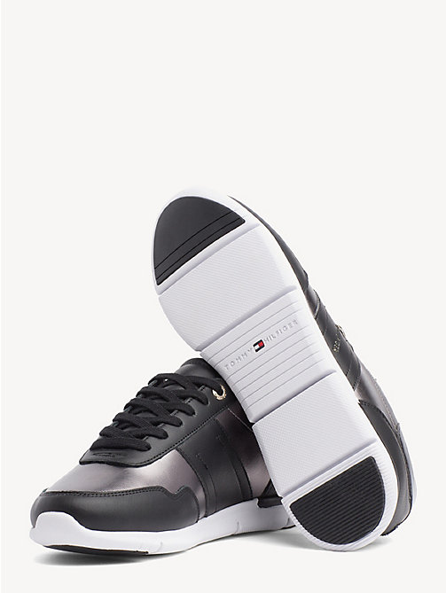 TOMMY HILFIGER Metallic Panel Leather Trainers - BLACK - TOMMY HILFIGER Trainers - detail image 1