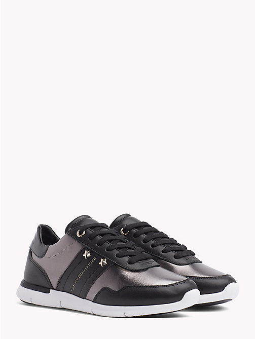 TOMMY HILFIGER Metallic Panel Leather Trainers - BLACK - TOMMY HILFIGER NEW IN - main image