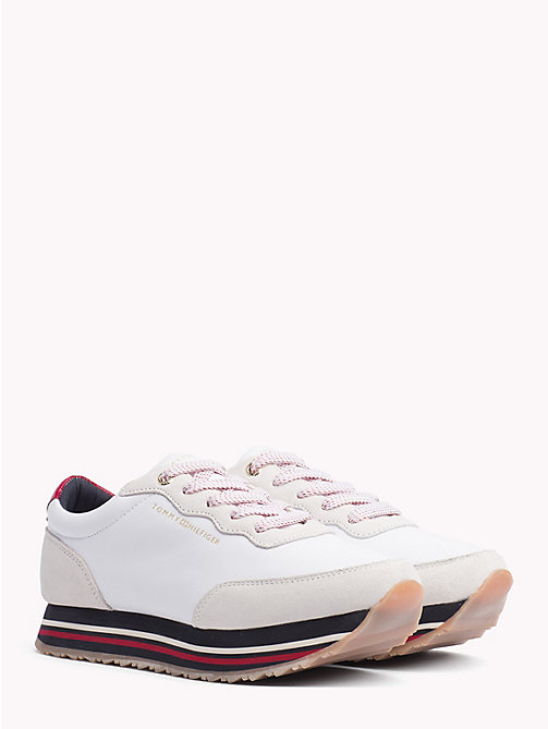TOMMY HILFIGER Signature Sole Lace-Up Trainers - WHITE - TOMMY HILFIGER NEW IN - main image