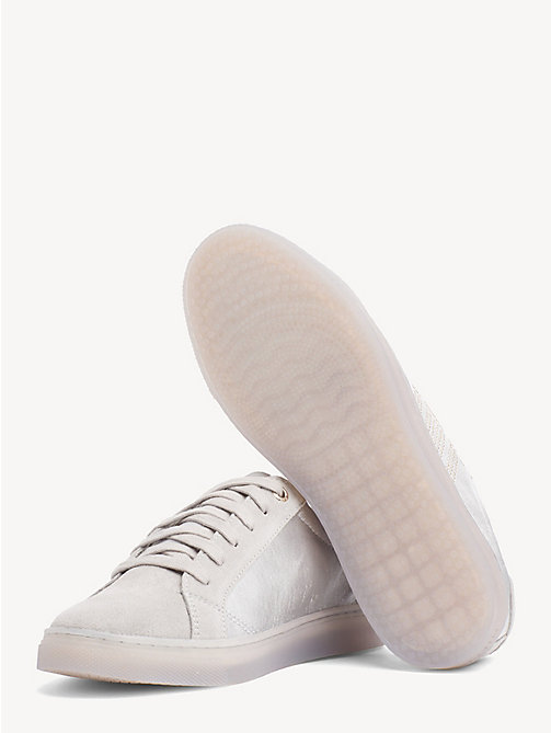 TOMMY HILFIGER Satin Finish Sparkle Detail Trainers - DIAMOND GREY - TOMMY HILFIGER NEW IN - detail image 1