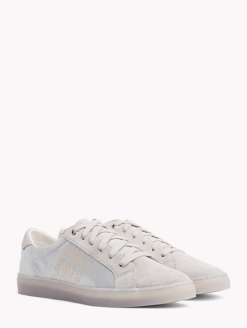TOMMY HILFIGER Satin Finish Sparkle Detail Trainers - DIAMOND GREY - TOMMY HILFIGER NEW IN - main image