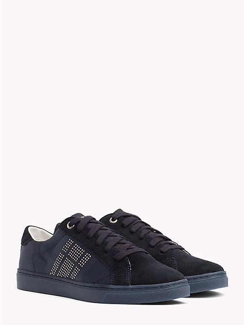 TOMMY HILFIGER Satin Finish Sparkle Detail Trainers - MIDNIGHT - TOMMY HILFIGER NEW IN - main image
