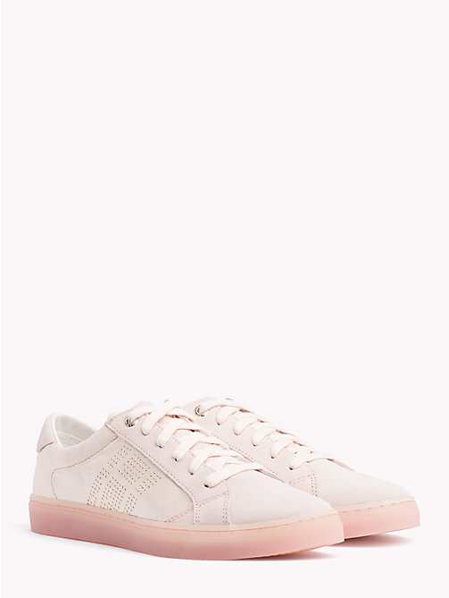 TOMMY HILFIGER Satin Finish Sparkle Detail Trainers - SILVER PEONY - TOMMY HILFIGER NEW IN - main image