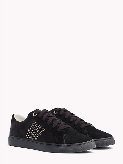TOMMY HILFIGER Satin Finish Sparkle Detail Trainers - BLACK - TOMMY HILFIGER NEW IN - main image