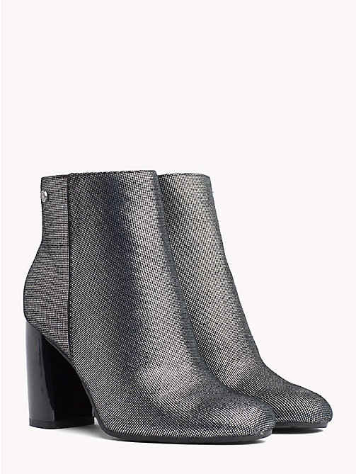 TOMMY HILFIGER Metallic Zip-Up Ankle Boots - DARK SILVER - TOMMY HILFIGER Ankle Boots - main image