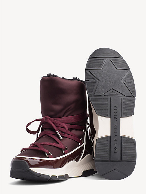 TOMMY HILFIGER Satin Lace-Up Snow Boots - DECADENT CHOCOLATE - TOMMY HILFIGER Ankle Boots - detail image 1