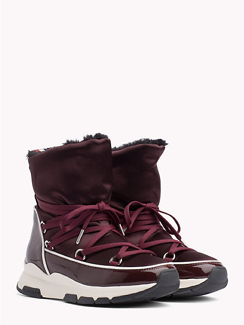 TOMMY HILFIGER Satin Lace-Up Snow Boots - DECADENT CHOCOLATE - TOMMY HILFIGER NEW IN - main image