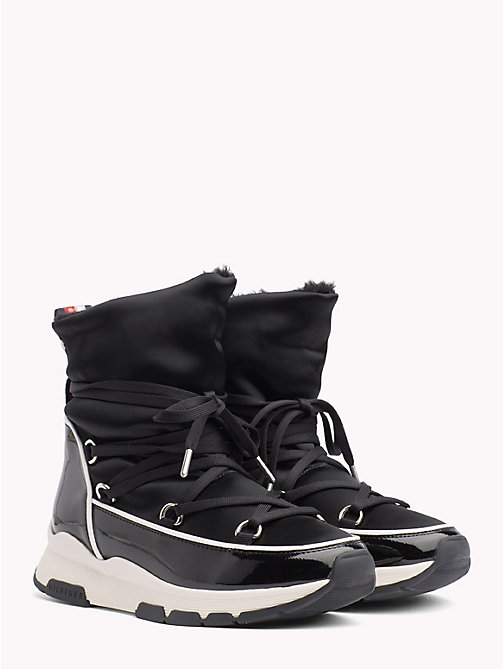 TOMMY HILFIGER Satin Lace-Up Snow Boots - BLACK - TOMMY HILFIGER Ankle Boots - main image