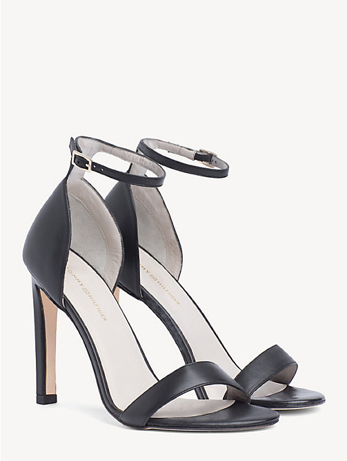 TOMMY HILFIGER Leather Strappy Sandals - BLACK - TOMMY HILFIGER Shoes - main image