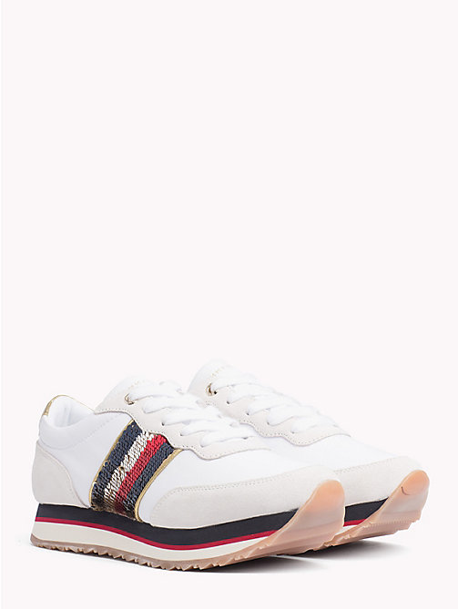 TOMMY HILFIGER Signature Sequinned Retro Trainers - WHITE - TOMMY HILFIGER Trainers - main image