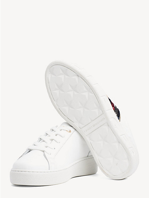TOMMY HILFIGER Signature Sequinned Lace-Up Trainers - WHITE - TOMMY HILFIGER Trainers - detail image 1