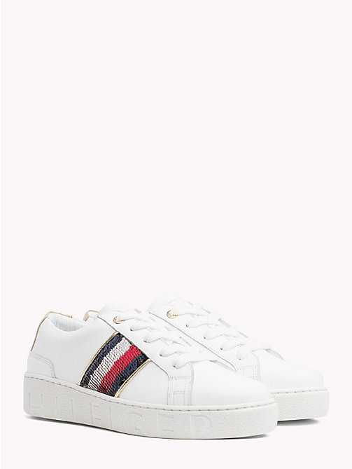 TOMMY HILFIGER Signature Sequinned Lace-Up Trainers - WHITE - TOMMY HILFIGER NEW IN - main image